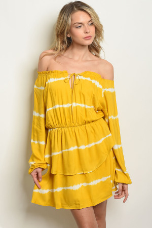 C85-A-4-D1243552 YELLOW WHITE TIE DYE DRESS 3-2-1