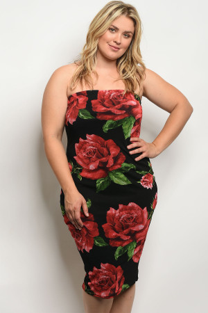C30-A-2-D9311X BLACK WITH ROSES PLUS SIZE DRESS 2-2-2