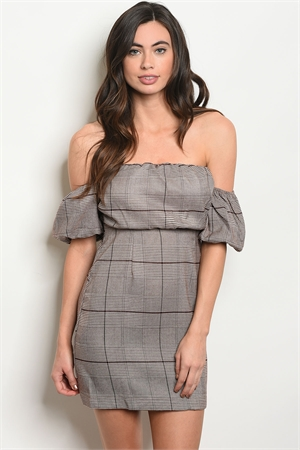 S14-11-2-NA-D72469 BROWN CHECKED DRESS 1-2-2-1