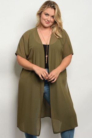 C26-A-3-T653X OLIVE PLUS SIZE TOP 2-2-2