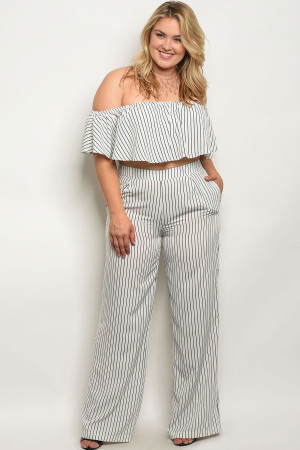 S4-1-2-SET11709X WHITE BLACK STRIPES PLUS SIZE TOP & PANTS SET 3-2-1