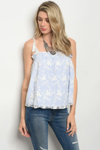 135-1-4-T15401 BLUE WHITE STRIPES TOP 3-2-1