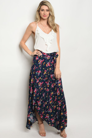 239-3-4-S394 NAVY FLORAL SKIRT 2-2-2