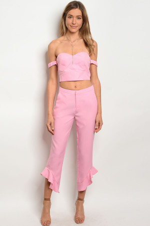 105-6-4-SET60140 PINK TOP & PANTS SET 2-2-2