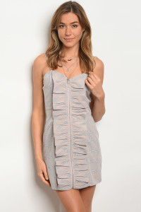 122-1-1-D90580 TAUPE CHECKERED DRESS 2-2-2