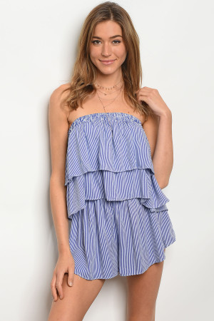 S9-15-2-R12498 ROYAL WHITE STRIPES ROMPER 3-2-1