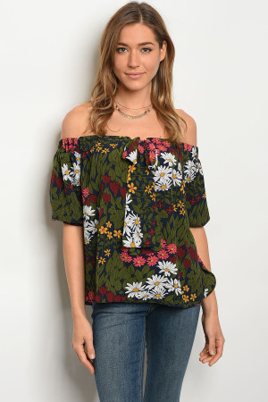 S13-2-4-T3113 NAVY GREEN TOP 2-2-2