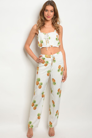 S2-5-2-NA-SET4025 IVORY WITH PINEAPPLES TOP & PANTS SET 1-2-2-1