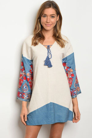 S13-2-3-D5245 NATURAL DENIM DRESS 2-2-2