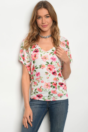C31-B-3-T919458 IVORY FLORAL TOP 2-2-2