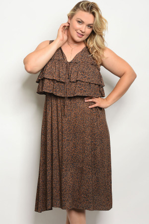 128-1-2-D5478X BROWN PLUS SIZE DRESS 3-2-1