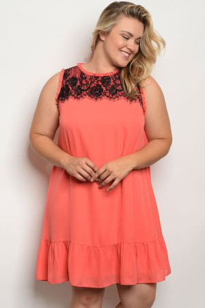 128-1-2-D5774X CORAL PLUS SIZE DRESS 2-3-3