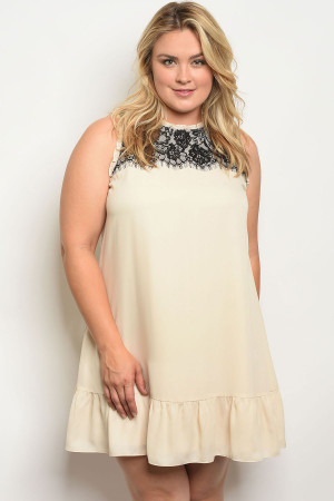 122-3-3-D5774X CREAM PLUS SIZE DRESS 2-2-2