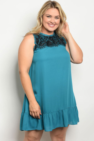 110-3-2-D5774X TEAL PLUS SIZE DRESS 2-2-2