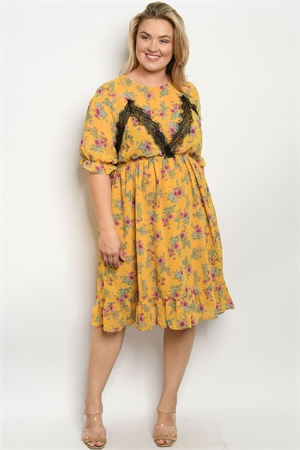 128-1-2-D5477X MUSTARD FLORAL PLUS SIZE DRESS 1-2-2