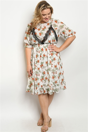 S12-12-5-D5477X IVORY FLORAL PLUS SIZE DRESS 2-2-2