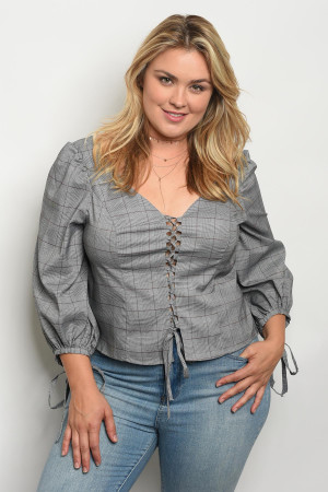 136-1-2-T21735X LIGHT GRAY PLUS SIZE TOP 1-2-2
