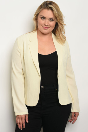 S10-20-3-J262X CREAM PLUS SIZE BLAZER 2-2-2