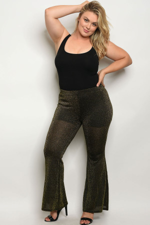 126-2-5-P1115X BLACK GOLD PLUS SIZE PANTS 1-1-2-2