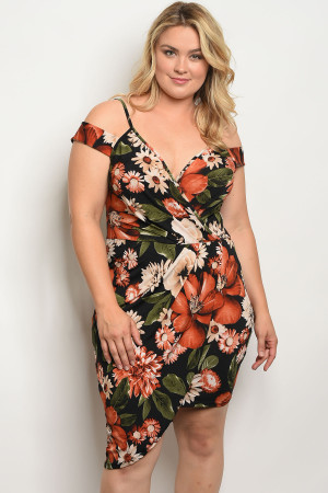 C22-A-1-D1346X BLACK WITH FLOWER PRINT PLUS SIZE DRESS 1-2-4