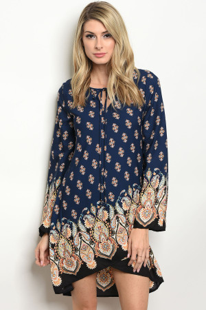 C11-A-3-D4163 NAVY PAISLEY PRINT DRESS 3-2-1
