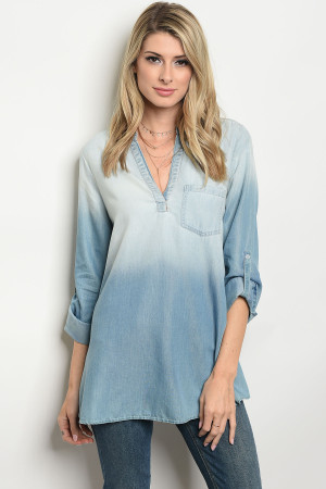 120-3-2-T4152 BLUE DENIM TOP 1-2-2