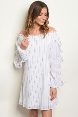 108-3-4-D42336 WHITE BROWN STRIPES DRESS 2-2-2