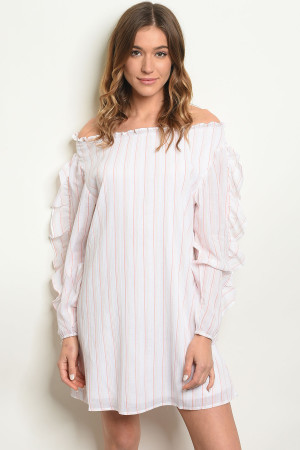114-1-3-D42336 WHITE PINK STRIPES DRESS 2-2-2