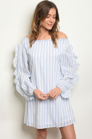 114-1-3-D42336 WHITE BLUE STRIPES DRESS 2-2-2