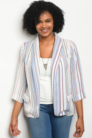 111-3-3-J59163X WHITE RED STRIPES PLUS SIZE BLAZER 2-2-2