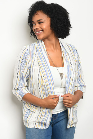 111-3-3-J59163X WHITE YELLOW STRIPES PLUS SIZE BLAZER 2-2-2