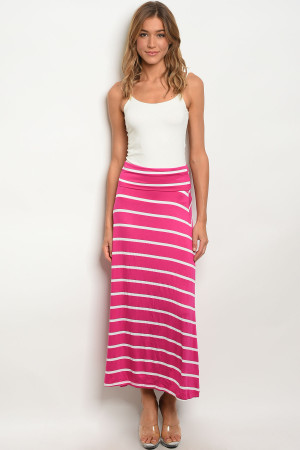 C13-A-2-S5785 FUCHSIA WHITE SKIRT 2-2-2