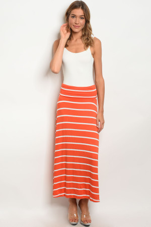 C19-A-2-S5785 ORANGE WHITE SKIRT 2-2-2