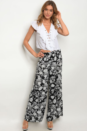 S9-18-5-NA-P10925 BLACK WHITE PANTS 2-2-2