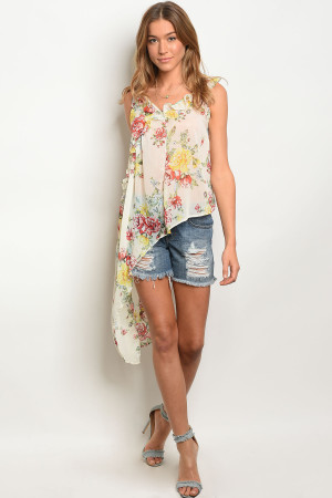 113-2-3-NA-T10917 IVORY FLORAL TOP 2-2-2