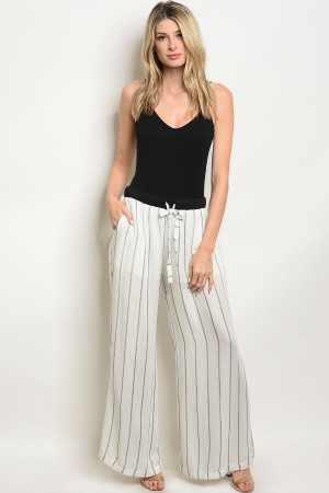 125-3-5-P57435 WHITE BLACK STRIPES PANTS 1-2-2-1