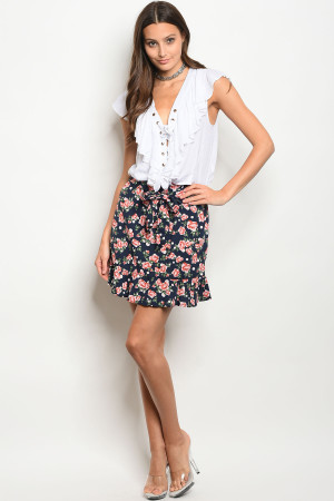 C66-B-3-NA-S50014 NAVY WITH ROSES PRINT SKIRT 2-2-1