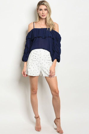 111-4-2-S1032 OFF WHITE NAVY SHORT 2-2-2  ***TOP NOT INCLUDED***
