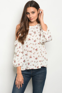C92-B-5-T68752 IVORY WITH FLOWER PRINT TOP 2-2-2