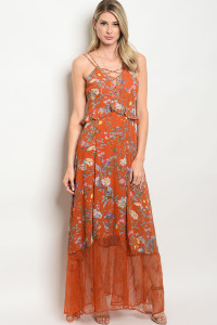 111-5-1-D62700 EARTH FLORAL DRESS 2-2-2