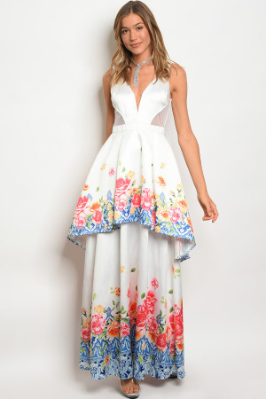 S14-4-2-D17658 OFF WHITE FLORAL DRESS 2-2-2