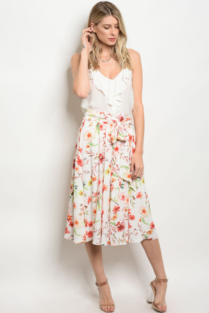 136-1-2-S50609 OFF WHITE FLORAL SKIRT 3-2-1