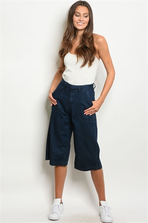 S16-7-2-C759 NAVY DENIM CAPRI PANTS 3-2-1