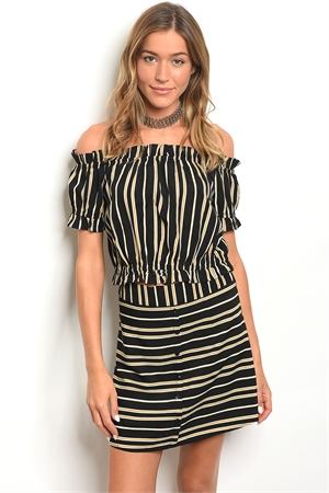124-1-4-SET25505 BLACK MUSTARD STRIPES TOP & SKIRT SET 3-3-2