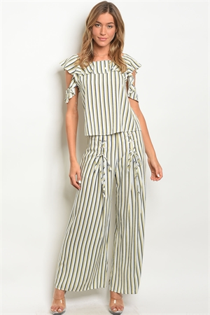 124-2-4-SET81049 IVORY NAVY STRIPES TOP & PANTS SET 3-2-2