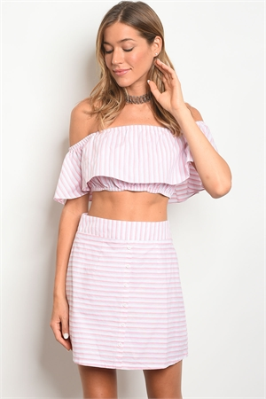 124-2-4-SET16902 PINK WHITE STRIPES TOP & SKIRT SET 1-1-2