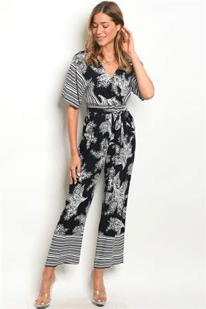 124-2-4-J25485 BLACK WHITE JUMPSUIT 2-2-3