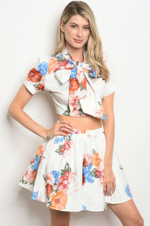 C59-A-1-SET30158 OFF WHITE FLORAL TOP & SKIRT SET 2-2