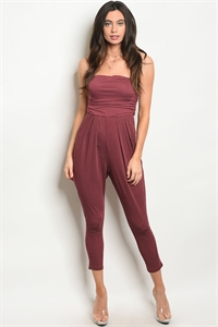 C85-A-2-J705543 WINE WHITE POLKA DOTS JUMPSUIT 2-2-2