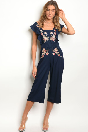 109-3-3-J5364 NAVY WITH FLOWER JUMPSUIT 3-2-1